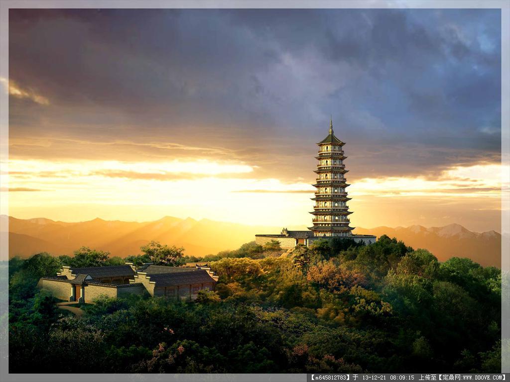 效果图源文件 景观园林版058 山顶观景塔 四合院 仿古建