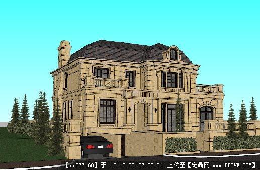 法式独栋别墅su建筑设计精品模型