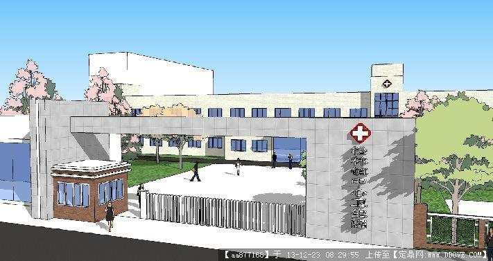 一个 医院大门 su建筑设计精品模型