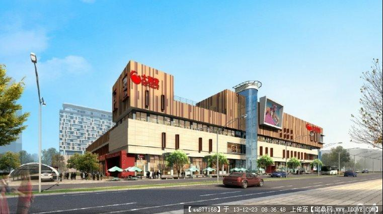 湖北大型超市su建筑设计精品模型(附后期渲染效果图)