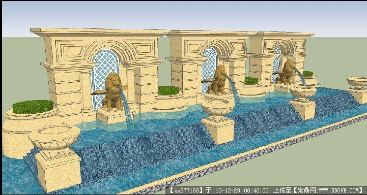 酒店欧式水景su景观设计精品模型