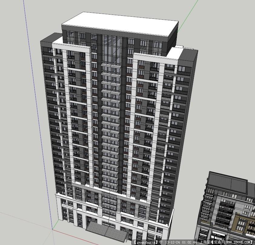 现代风格高层住宅经典su草图模型设计