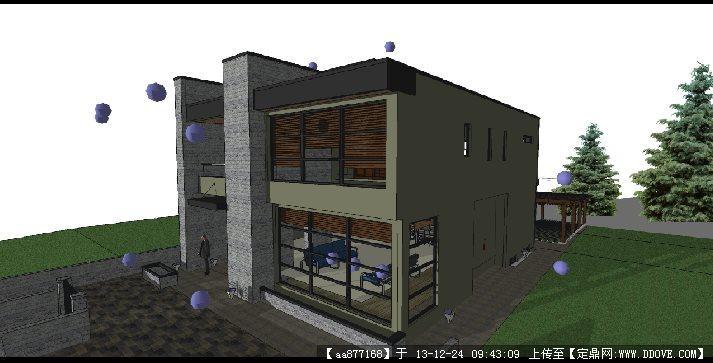 私人小别墅su建筑设计精品模型