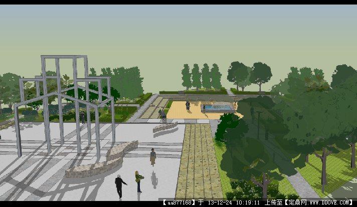 雕塑广场su景观设计精品模型