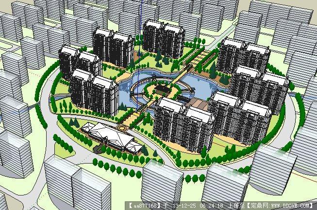 圆形居住小区规划su模型