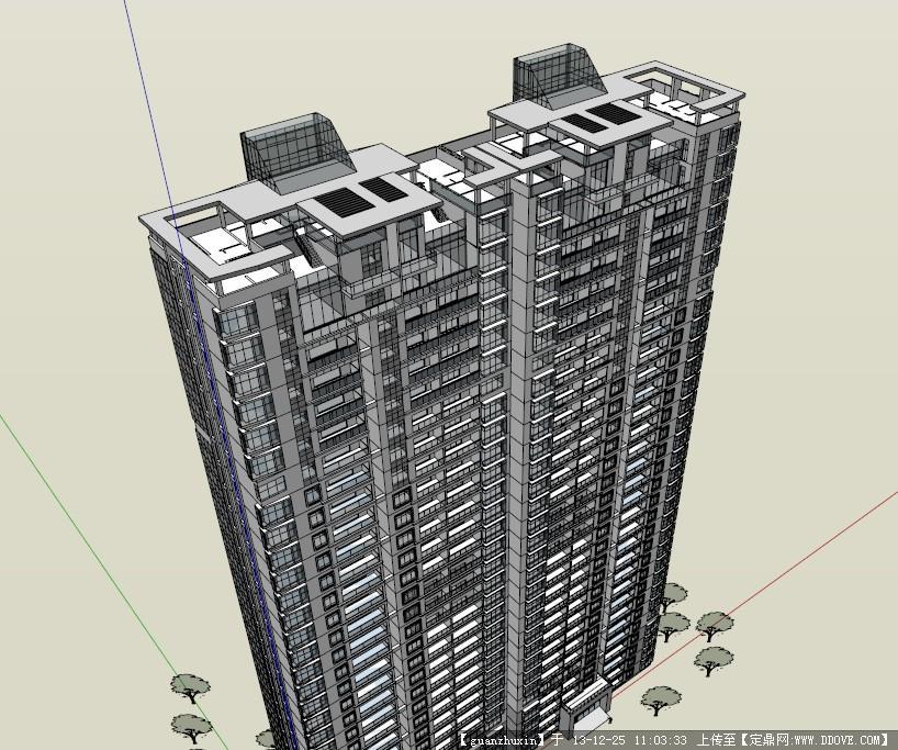 现代风格高层住宅精品su草图模型设计
