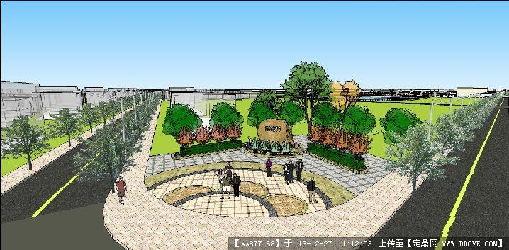 湖塘村街头小游园su景观设计精品模型
