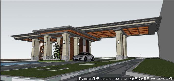 新中式岗亭su精品建筑设计模型图片