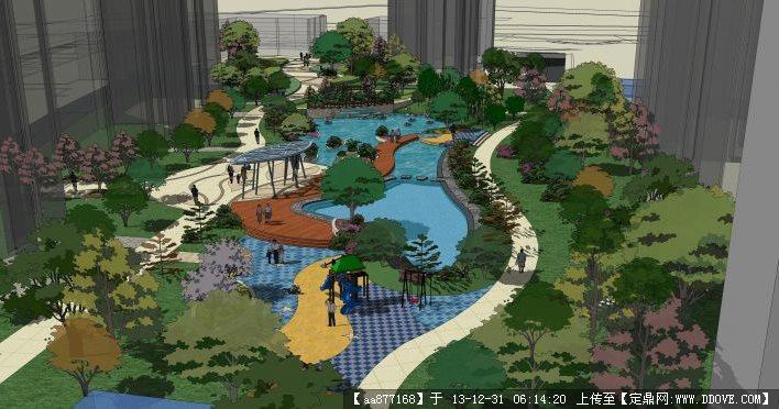 灰晕风格——某小型住宅小区景观su精品景观设计模型