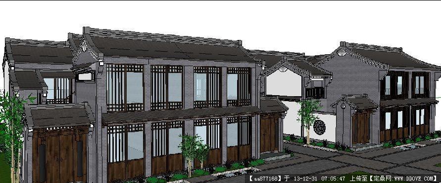 新中式独栋别墅su精品建筑设计模型
