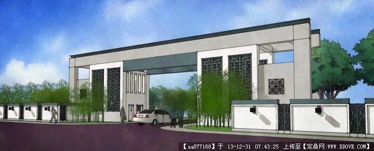 新中式小区入口大门su精品建筑设计模型