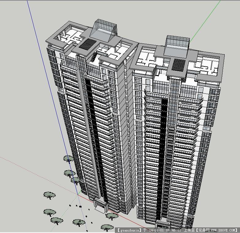 某现代风格高层住宅su模型设计的下载地址
