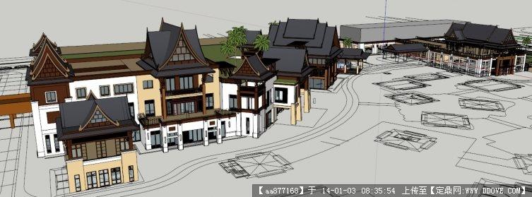 东南亚风格度假酒店su建筑设计精品模型