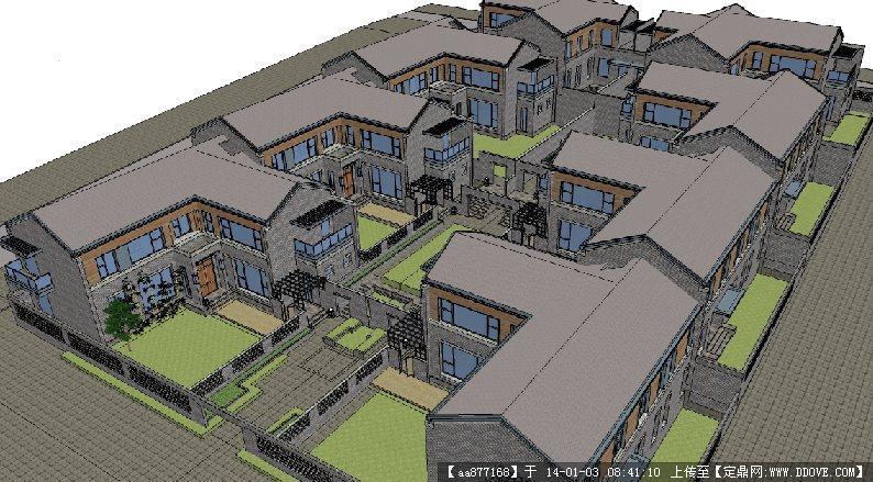 现代中式八和院su精品建筑设计模型