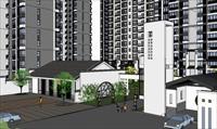 效果图 模型/新中式住宅小区SU建筑与景观设计精品模型...