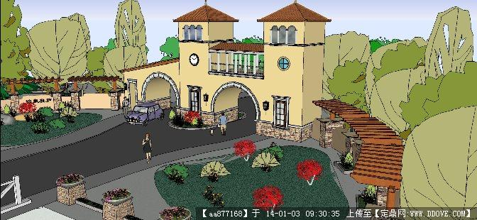 欧式别墅小区入口大门su精品建筑设计模型