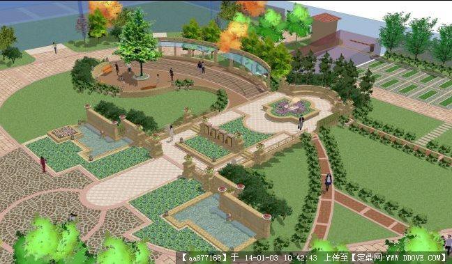 一个小区欧式庭院sketchup景观精品模型图片