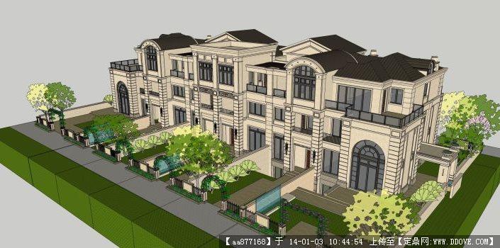 联排别墅SU精细价格()家用别墅观光电梯模型小型图片