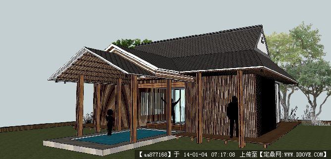 一个11商业综合体su精品建筑与景观设计模型 架空层及庭院su精品景观