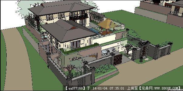 四组泰式度假别墅su精品建筑与景观设计模型