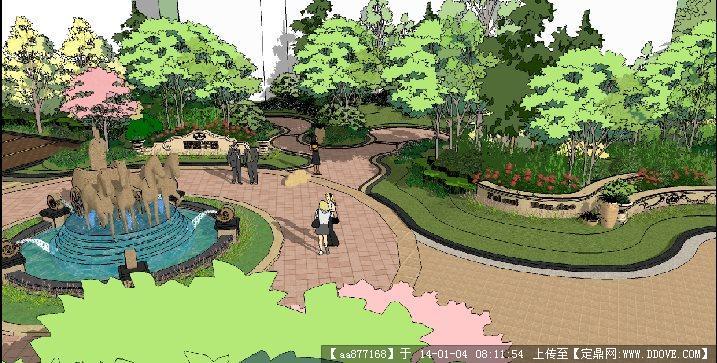 一个欧式小区入口景观节点设计su精品模型