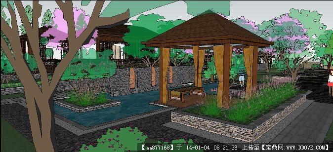 别墅庭院sketchup景观精品模型