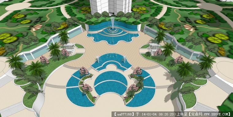 一个下沉式广场景观设计su精品模型