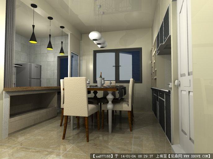 之餐厅和书房sketchup室内装饰精品模型(附效果图)