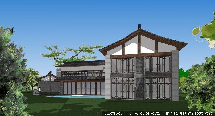 私人仿古小别墅su建筑设计精品模型