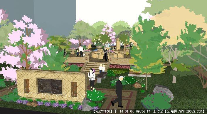 欧式风格祥福小区中庭su精品景观设计模型