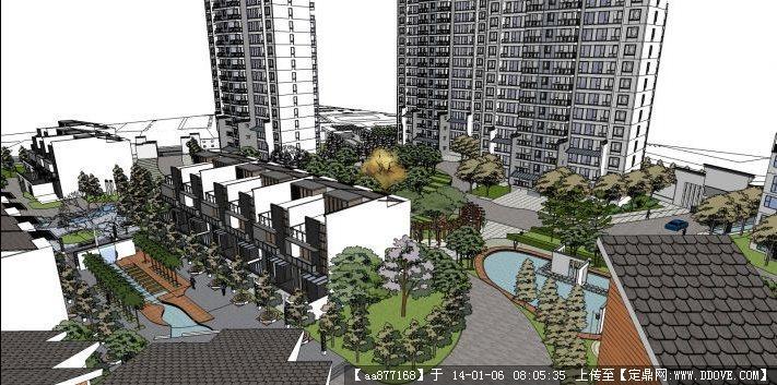 徽式小区su精品建筑与景观设计模型