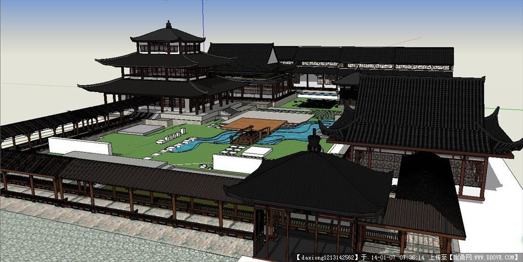 中式古建筑会所su模型