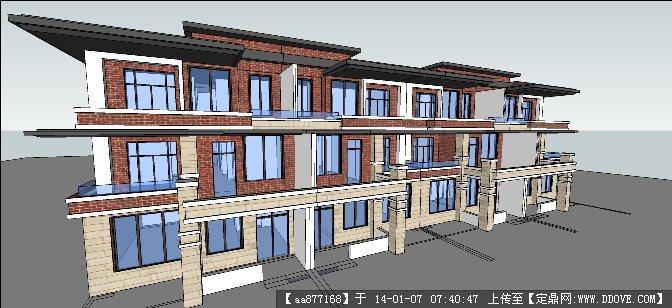 联排别墅su精品建筑设计模型
