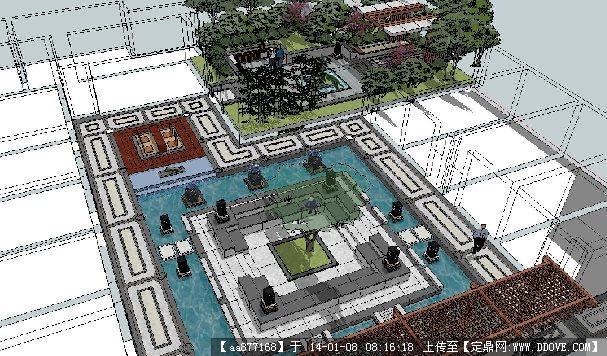 灰晕风格——新中式酒店中庭景观设计su精品模型图片