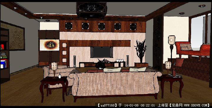 某欧式样板房su精细室内装饰模型