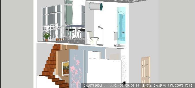 双层青年单身公寓su精品室内设计模型
