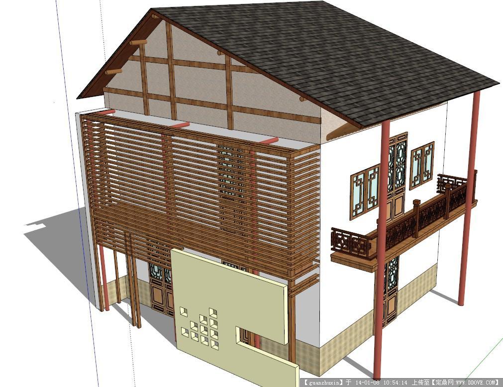 一个中式风格的小房子su模型