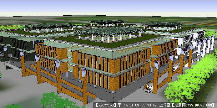 农贸市场建筑设计方案su精品模型