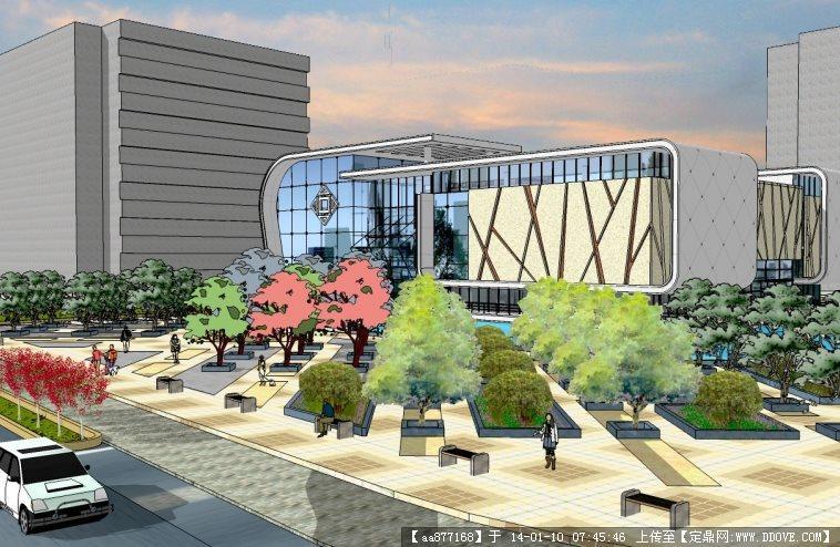 现代大气博物馆su精品建筑与景观设计模型