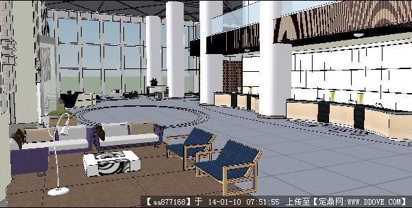 酒店大厅su精品室内设计模型