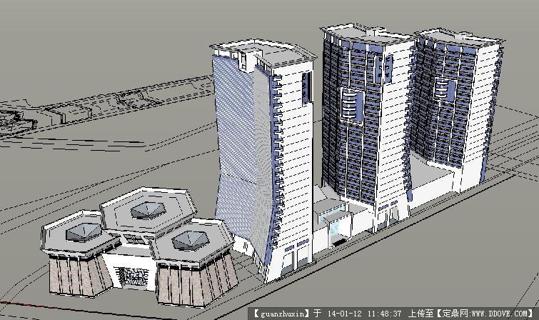 现代风格高层住宅加转角商业模型