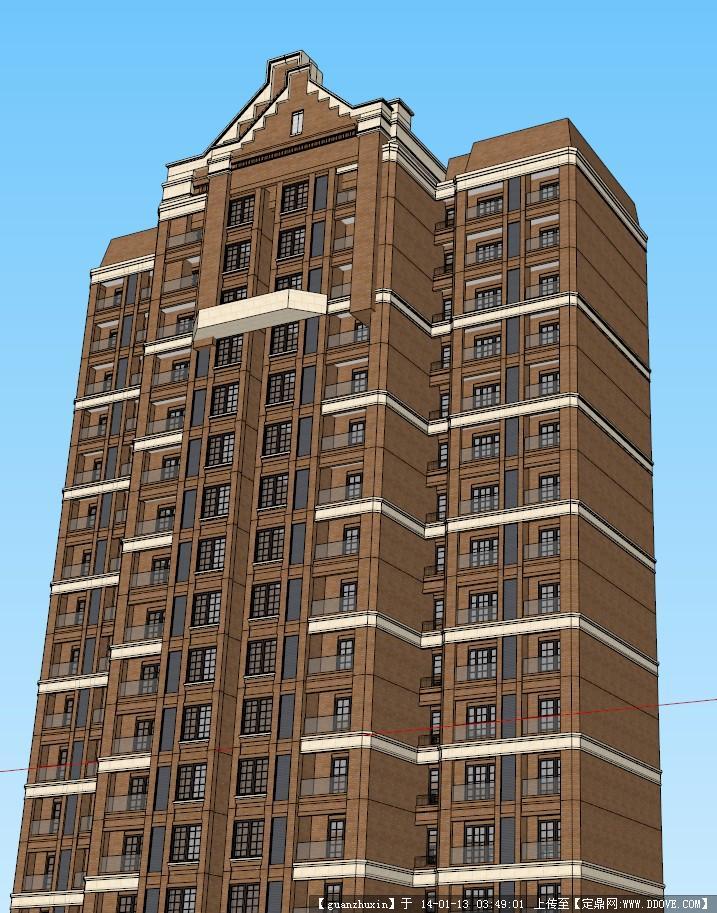 定鼎网 定鼎素材 sketchup草图大师模型 建筑室内 高层英式风格住宅su图片