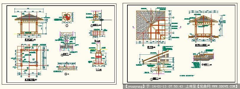现代中式景观亭子施工图的下载地址,园林施工详图,与