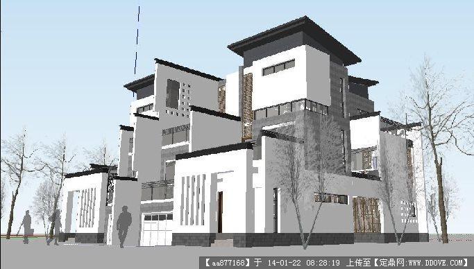 现代中式别墅su精品建筑设计模型