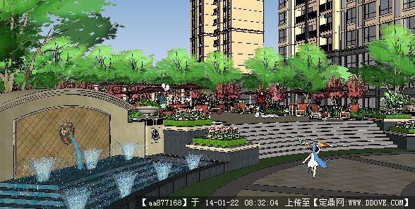 小区入口景观效果图小区景观手绘效果图 小区景观效果图15; su喷泉