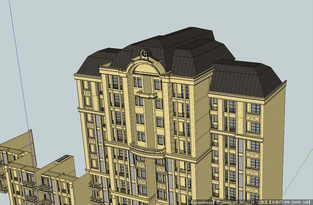 法式高层建筑su模型图片