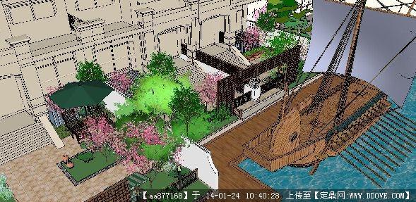 附游艇码头的别墅小庭院景观设计su精品模型