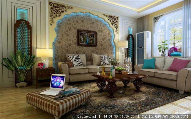 东南亚风格电视背景墙12款