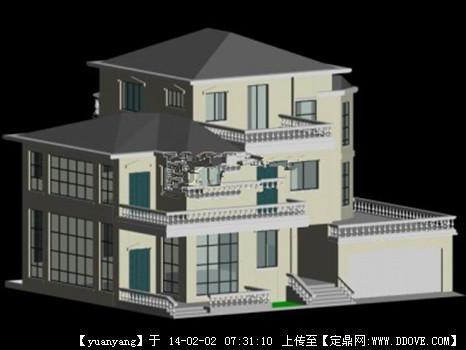 别墅建筑整体外观3d max模型的下载地址