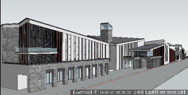 仿古商业街铺su精品建筑设计模型图片